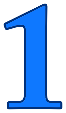 number 1 blue signs symbol alphabets numbers color #14153