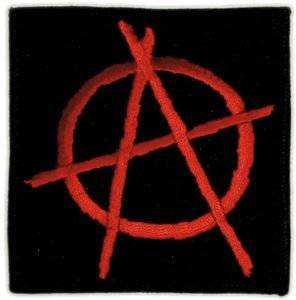 amazonm quot black red anarchy symbol patch clothing #34614