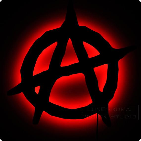 anarchy symbol lighted anarchy sign glowing punk grunge wall art luxchroma #34616