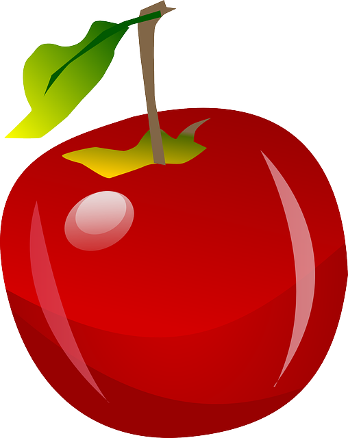 vector graphic apple fruit nature red juicy 11738