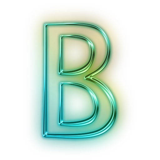 b letter glowing green neon icon alphanumeric letter #34963