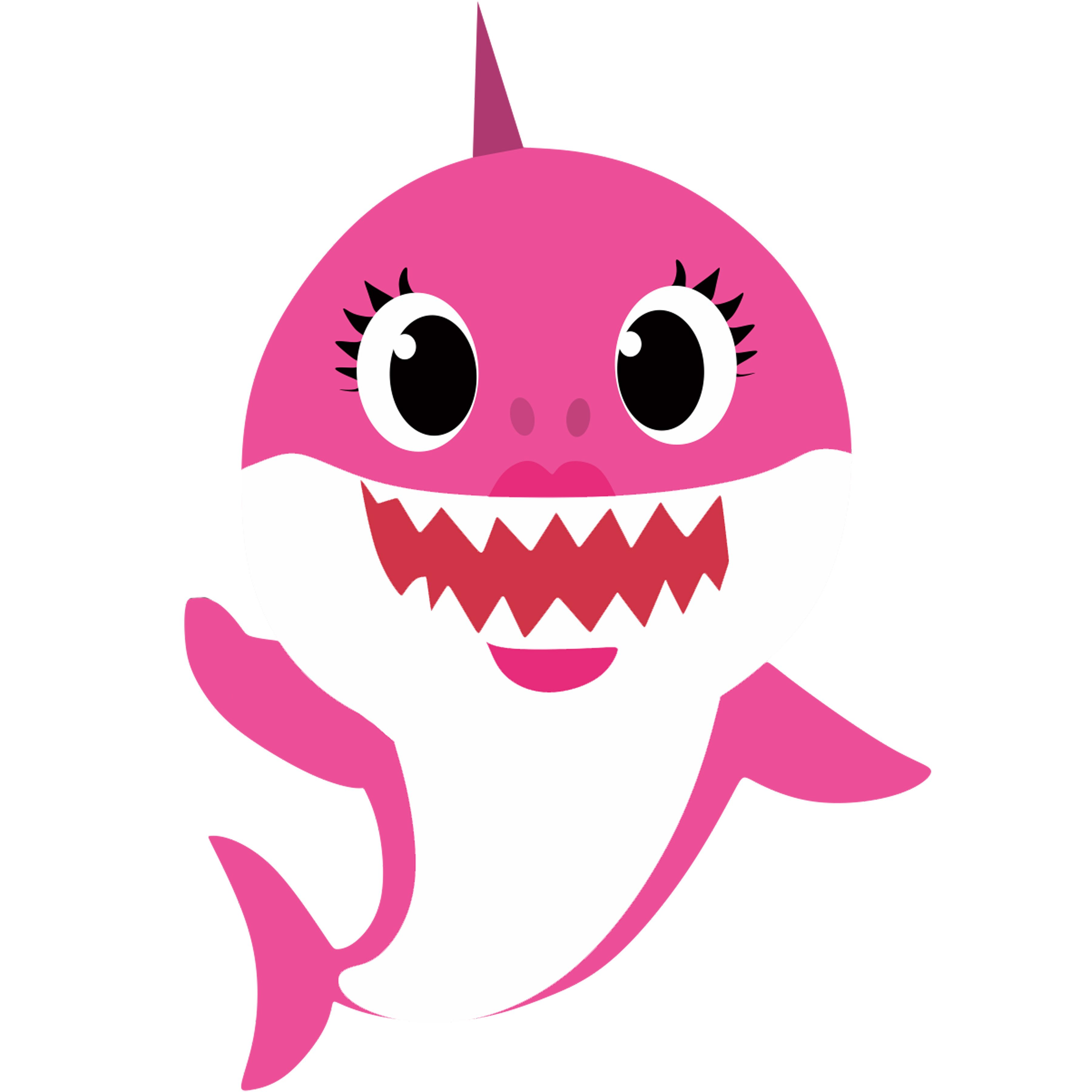 pinkfong Childrens Girls Baby Shark and Family Glitter Top