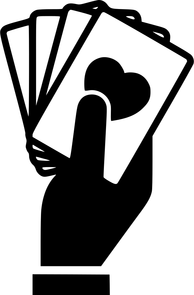 hand holding playing cards svg png icon download #22401