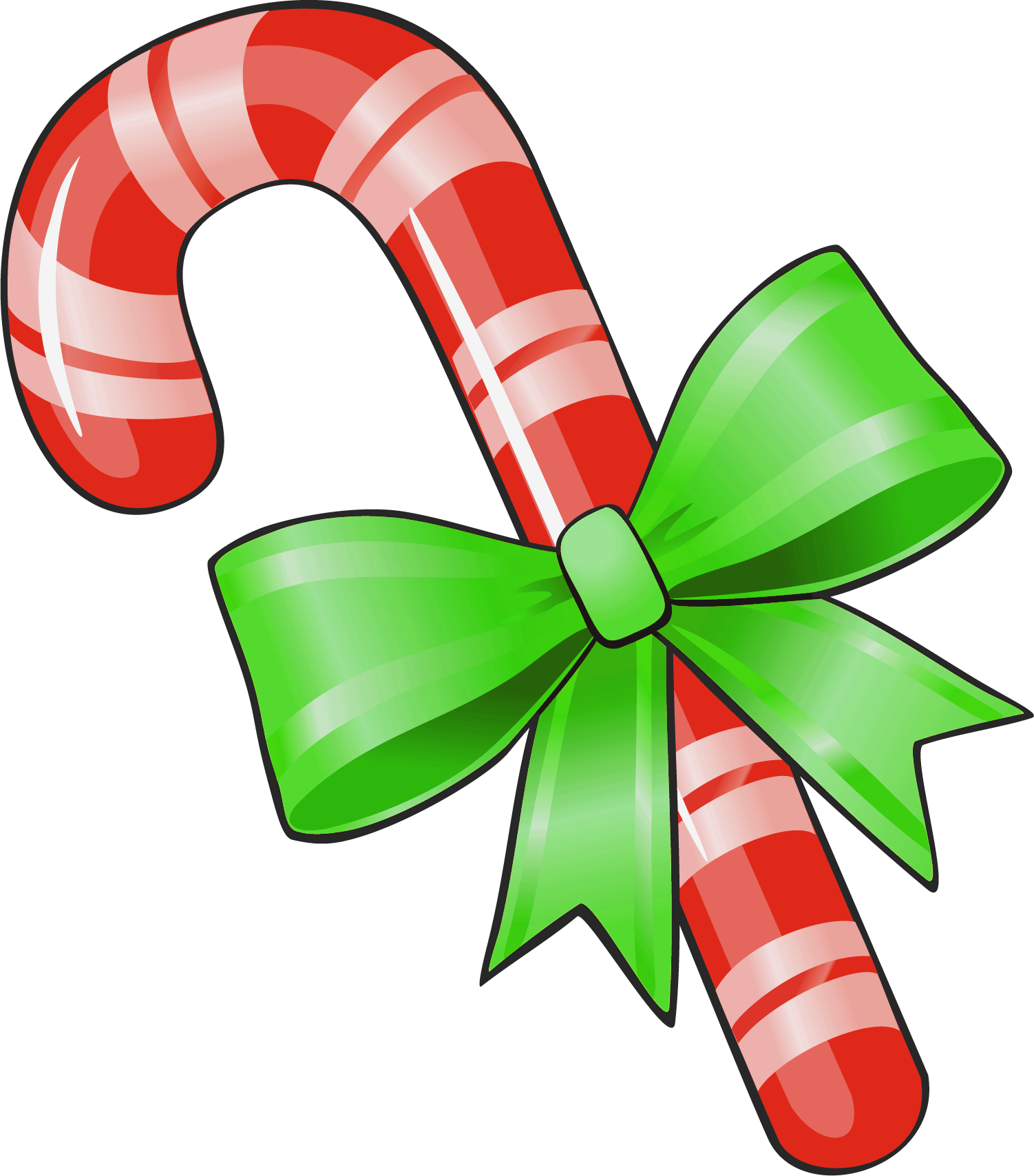 transparent christmas candy cane with green bow png #35328