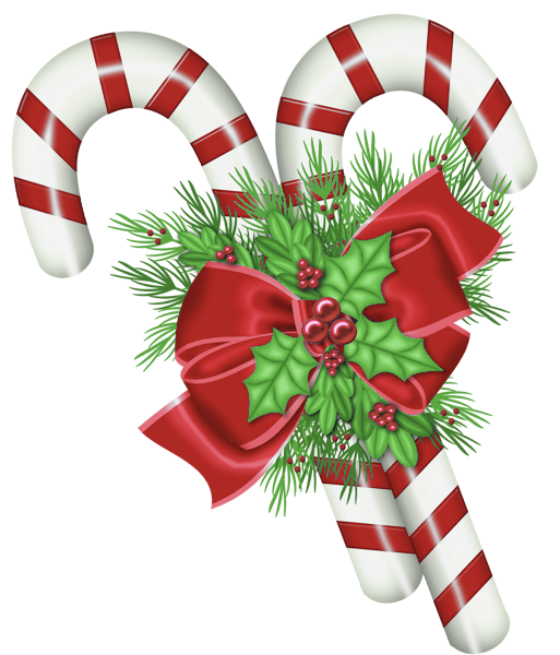 transparent christmas candy canes with mistletoe png #35330