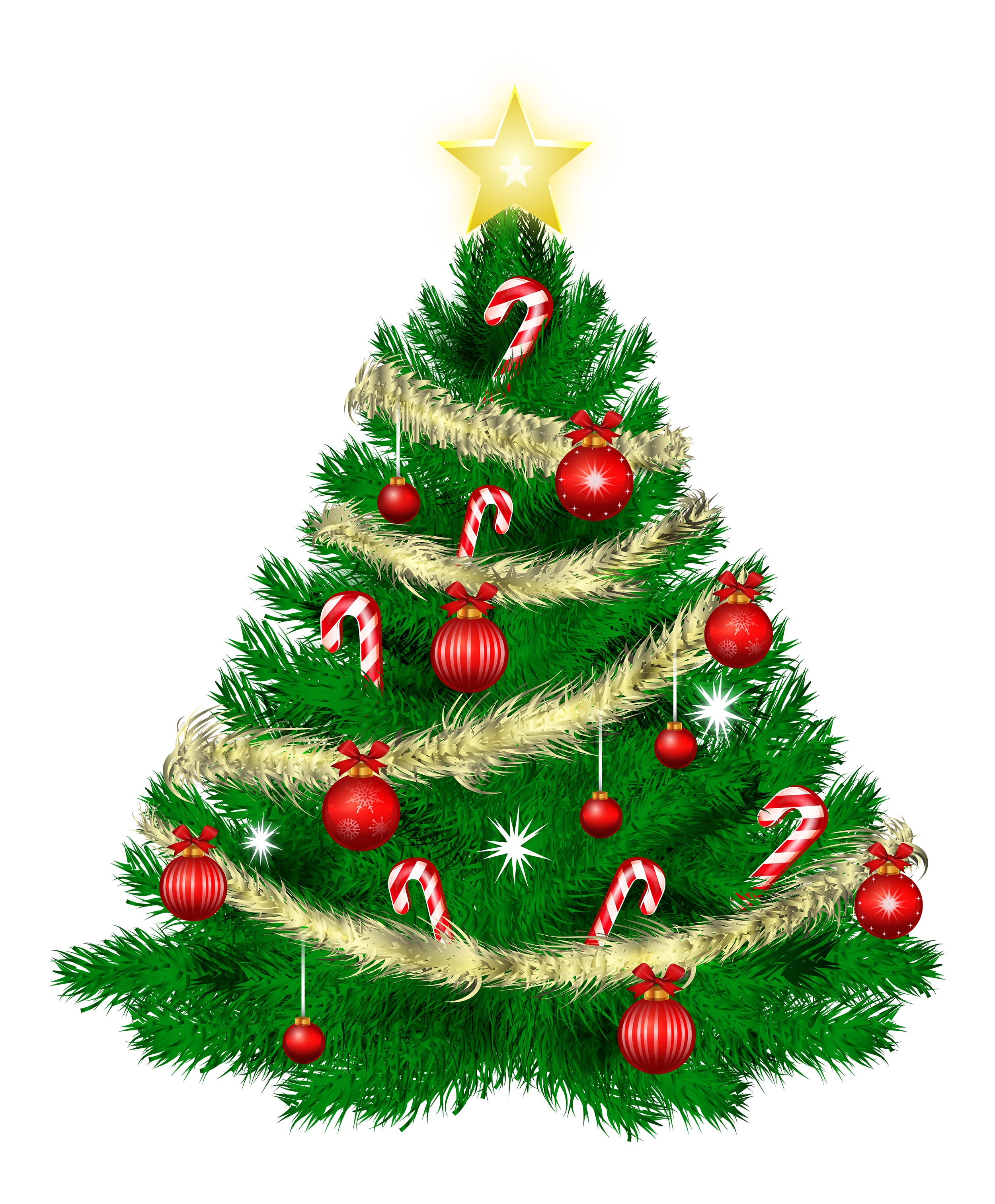 christmas tree with christmas ornaments and star png 11714
