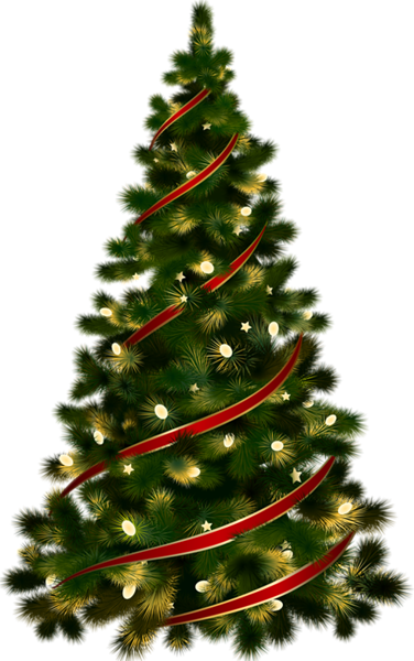 large transparent christmas tree with red ribbon clipart #11682