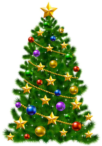 transparent christmas tree with stars png clipart 11696
