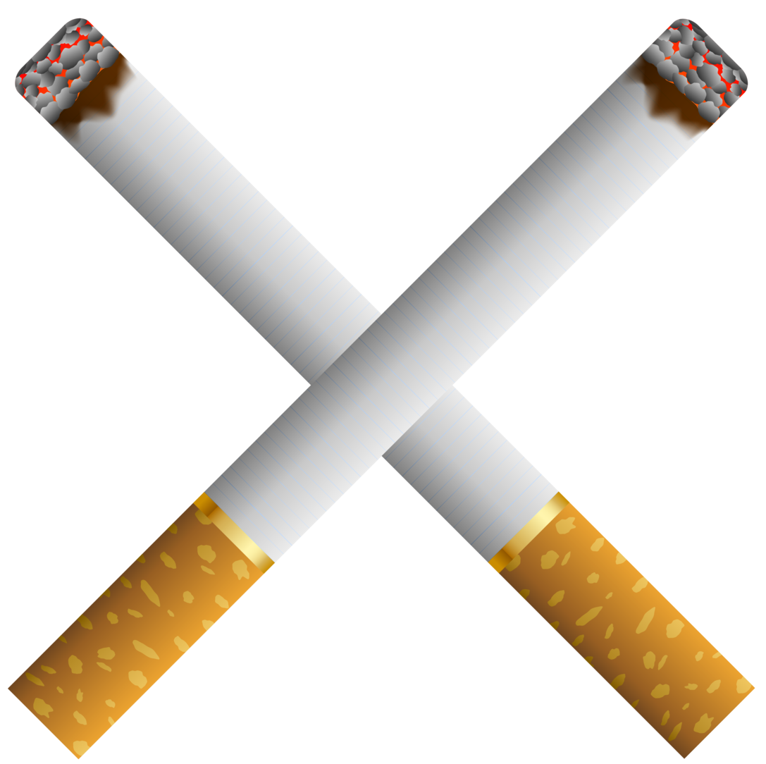 cigarette, two crossed cigarettes png clipart #16457
