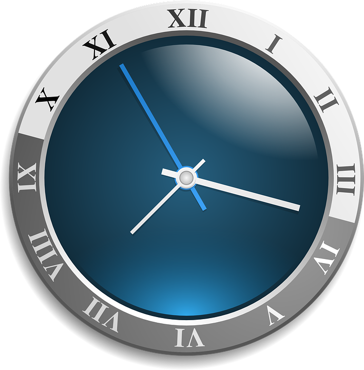 vector graphic clock analog face blue time #15111
