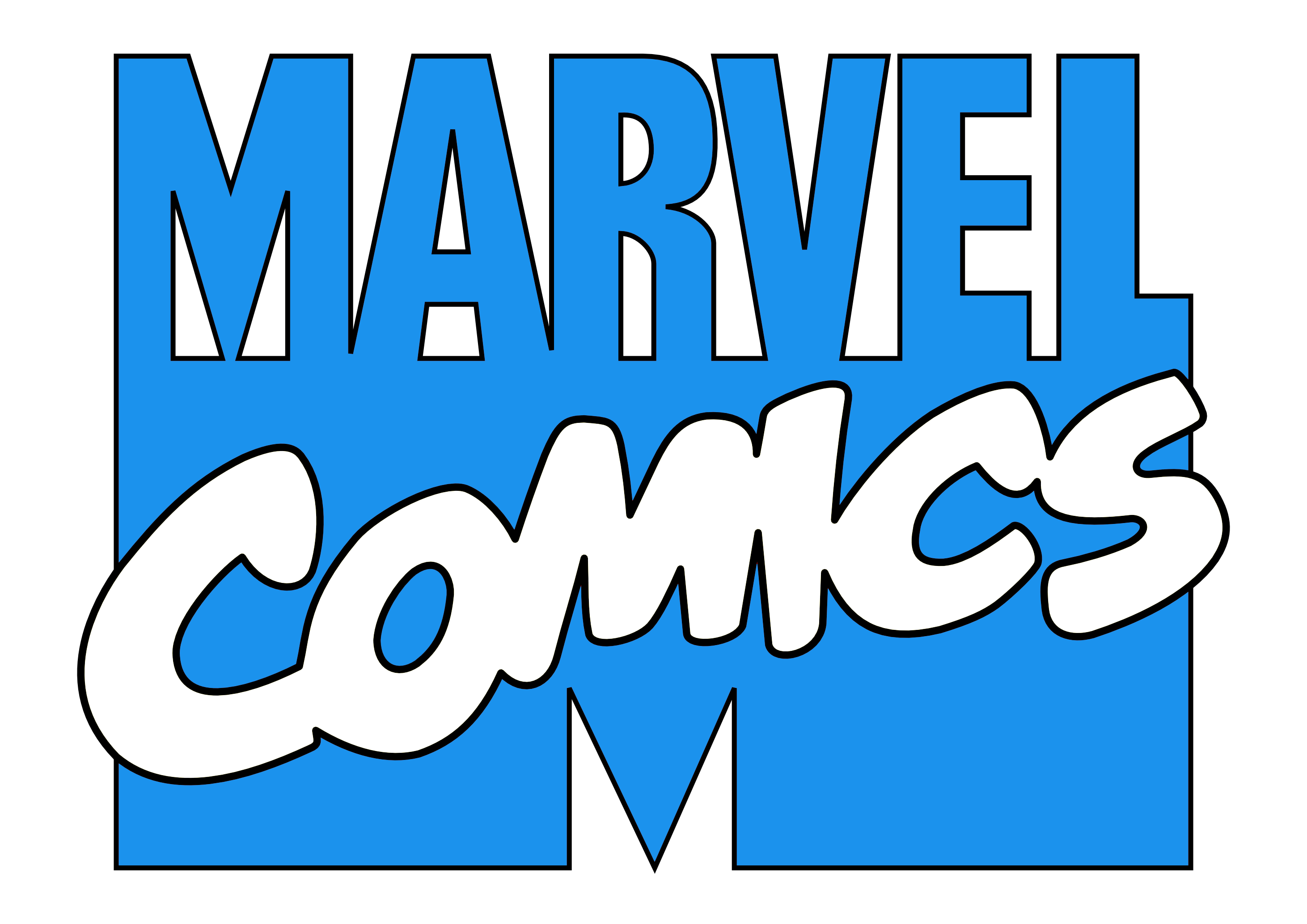 marvel comics logo blue and white emblem #40795