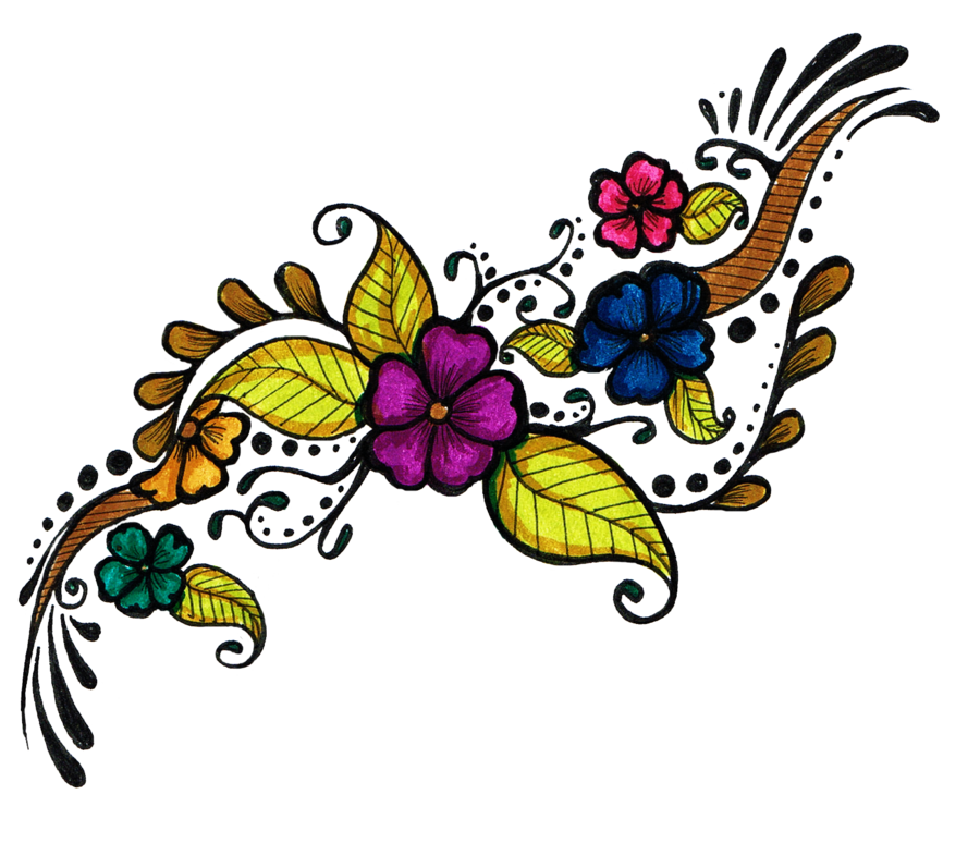 colorful flowers tattoo design png transparent image #31221