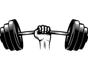 dumbbell barbell clip art etsy #35691