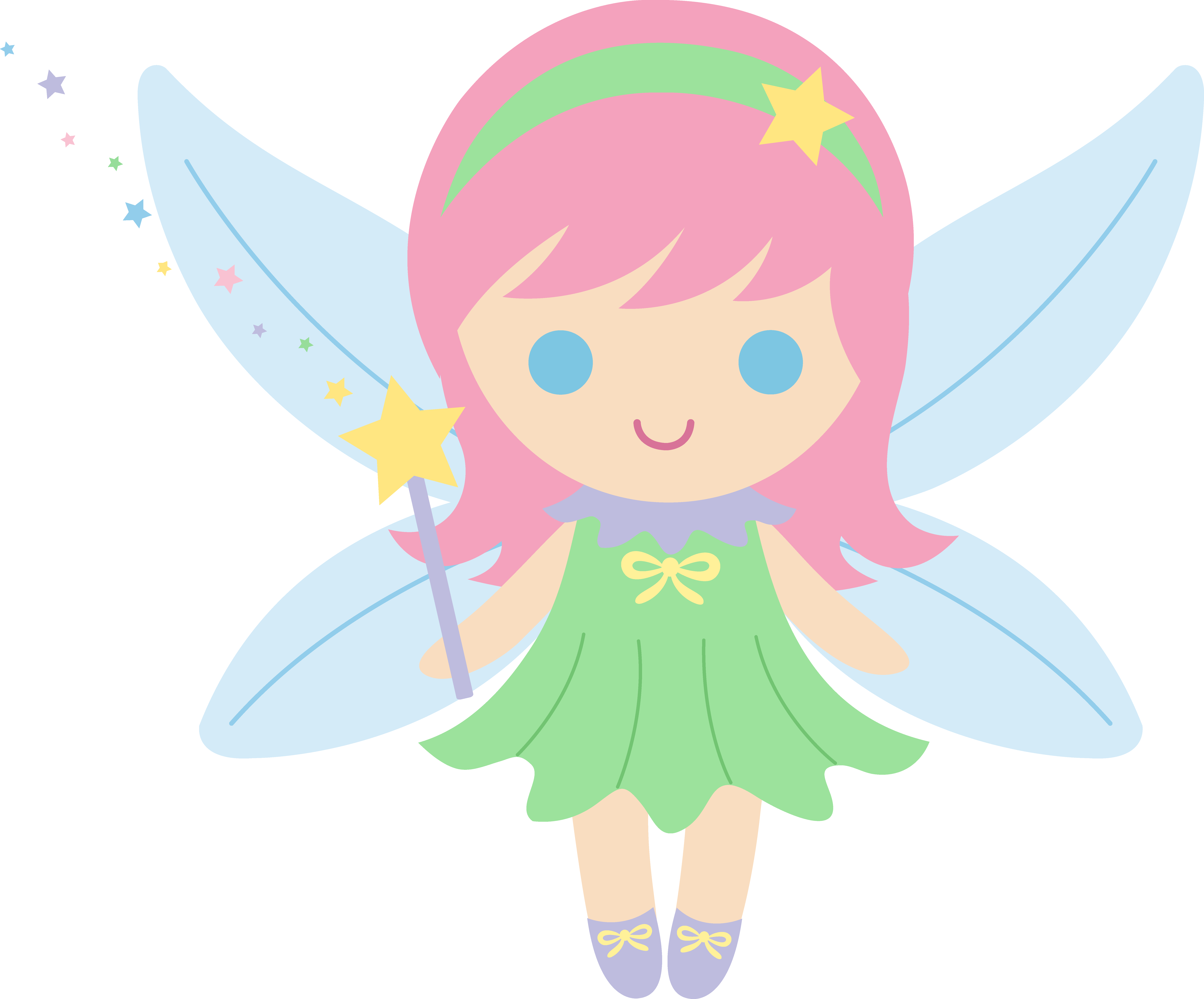 little fairy with pink hair clip art #28633