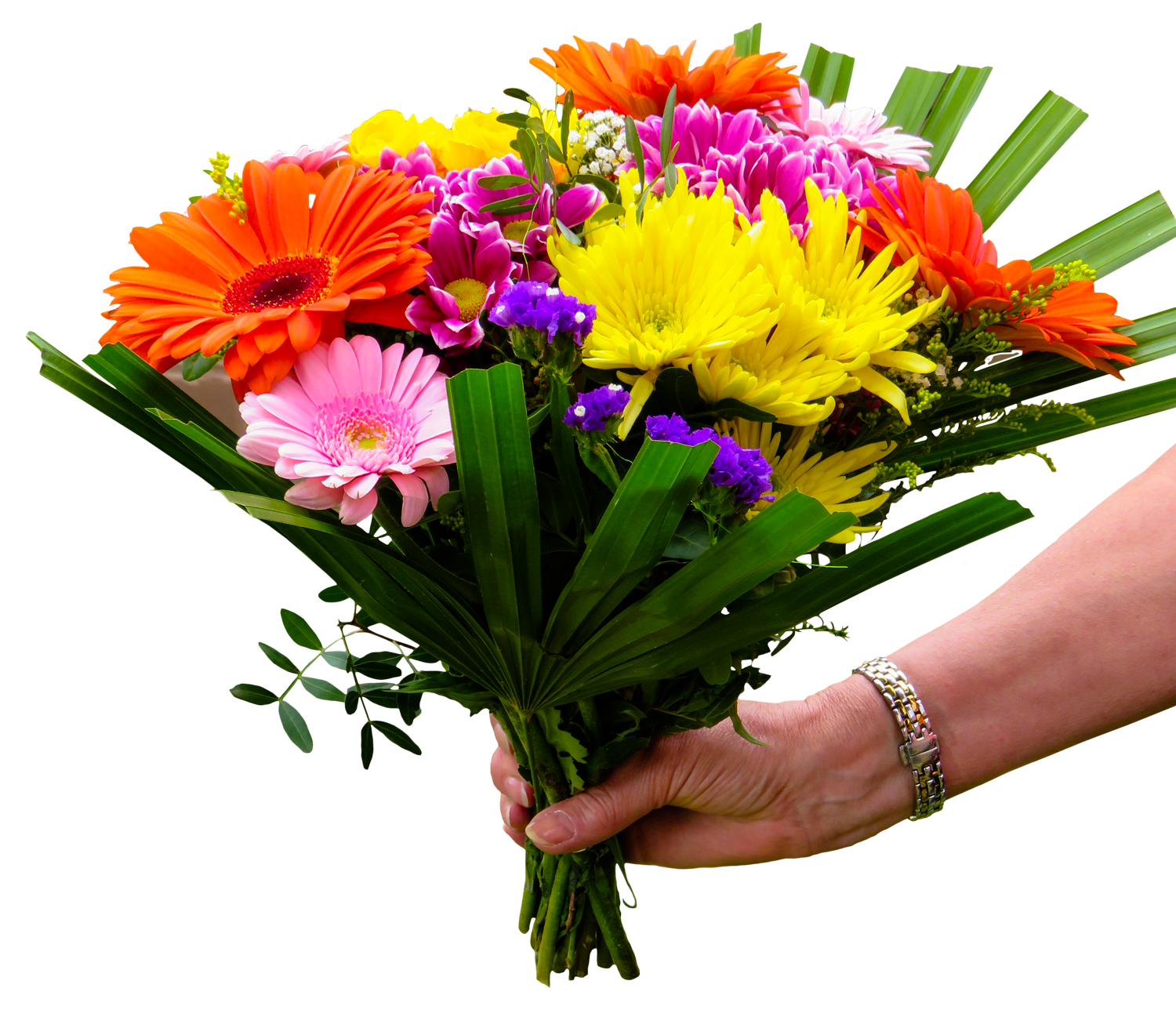 flower bouquet with hand png transparent image #34074