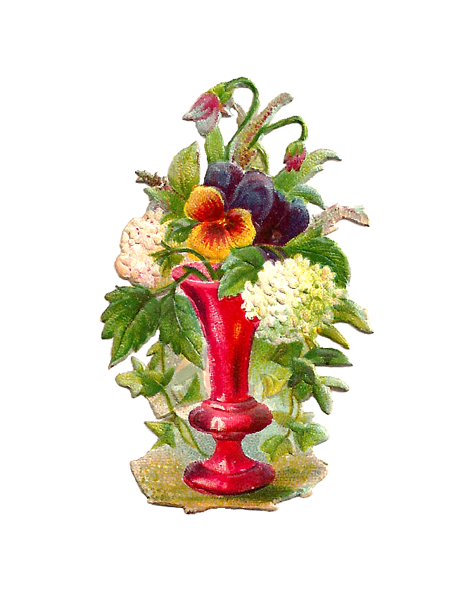 flower vase, antique images flower graphic pansies and hydrangea flowers red vase victorian scrap #28594