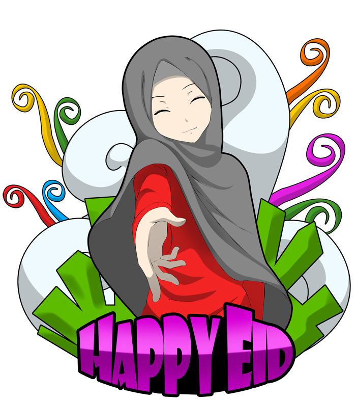 happy eid mubarak with muslim girl picture transparent #39556