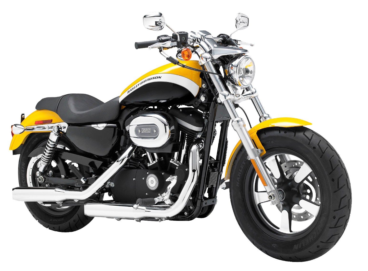 yellow harley davidson sportster motorcycle bike png #21651