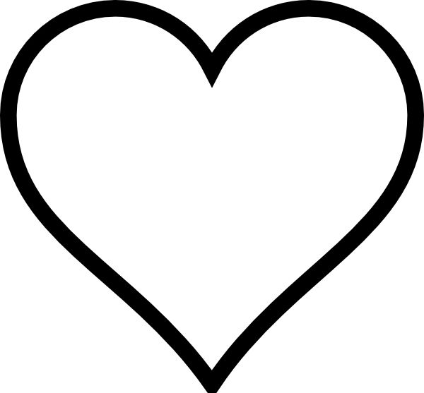 black and white heart clip art #27630