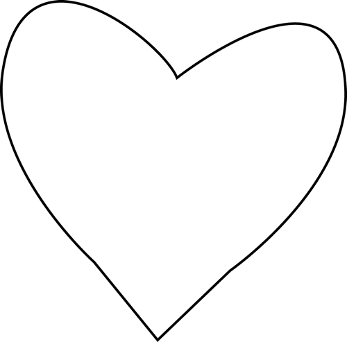 heart outline black and white clipart panda #27654