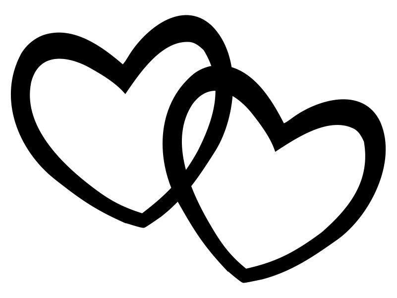 hearts double heart clipart black and white valentine #27641