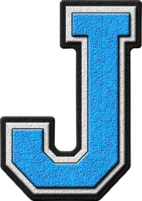 j letter presentation alphabets light blue varsity letter #37761