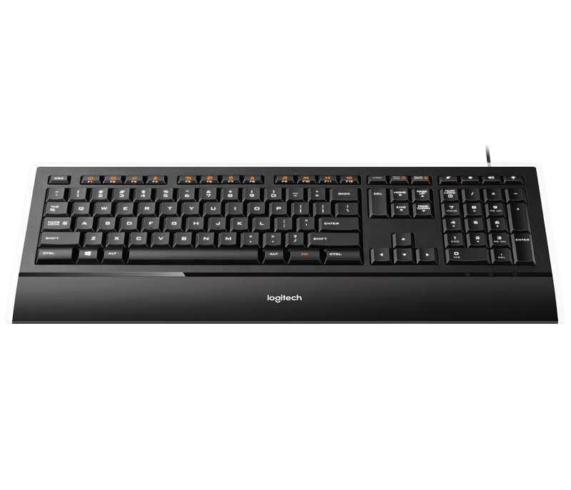 logitech illuminated usb keyboard with built palm rest #17217