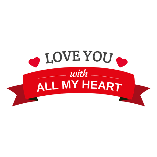 love you heart ribbon transparent png svg vector #25728