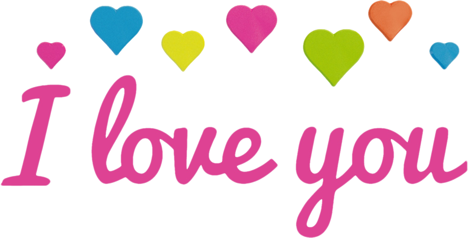 love you text and hearts png image #25768