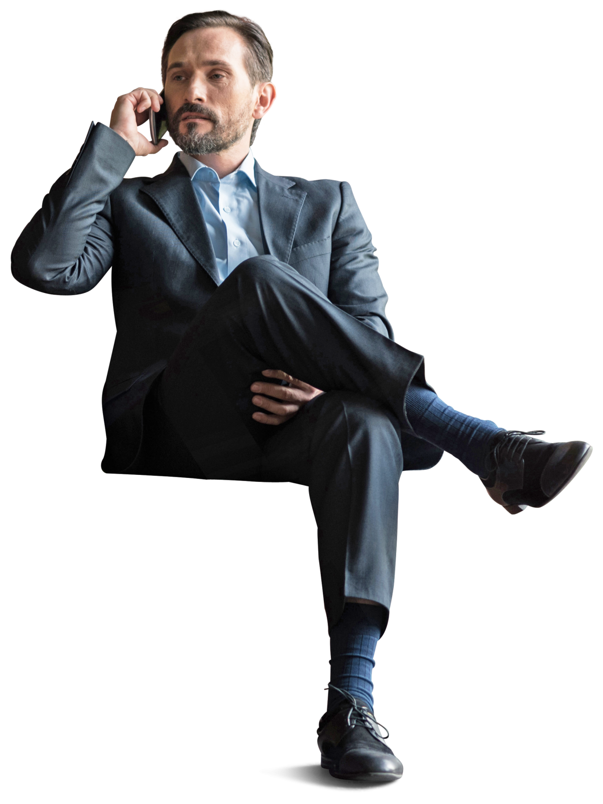 office businessman sitting with phone cut out #12348