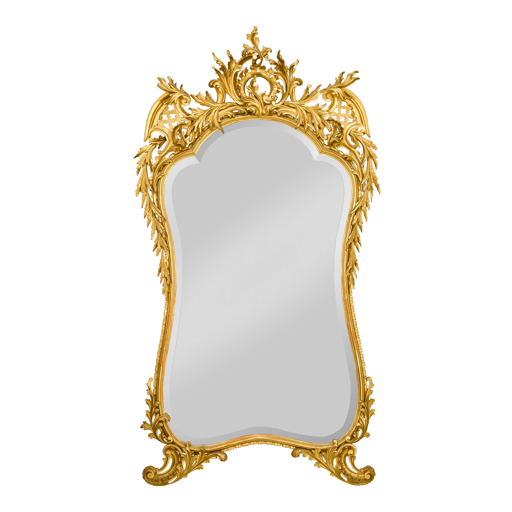 antique mirror french gold leaf beveled glass rococo #26362