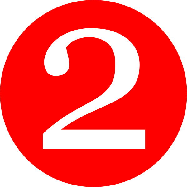 number 2 red rounded with number clip art #34142