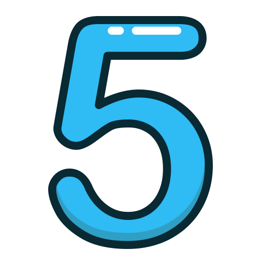 Number 5, blue five number numbers study icon #25447