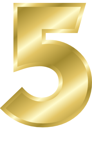 Number 5, gold number signs symbol alphabets numbers gold gold #25450
