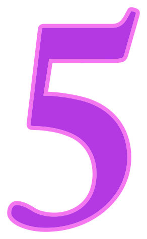 Number 5, number purple signs symbol alphabets numbers color #25442