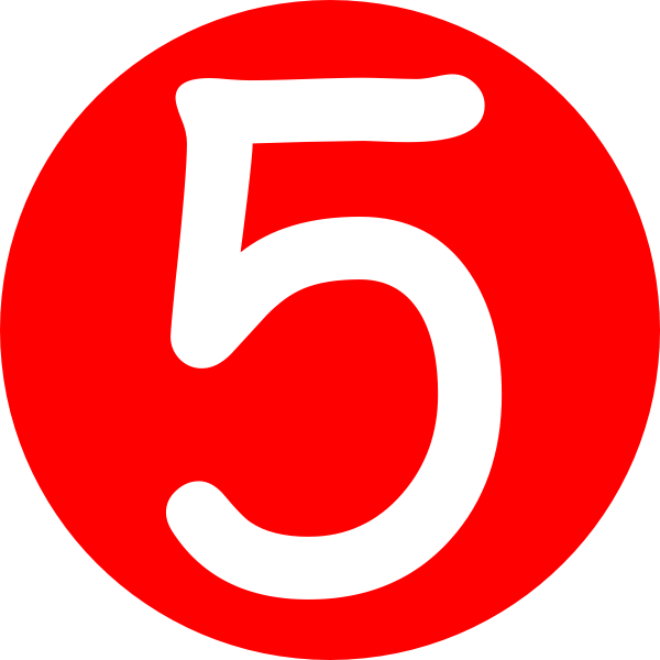 Number 5, red rounded with number clip art clkerm vector #25490