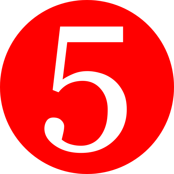 Number 5, red rounded with number clip art clkerm vector #25518