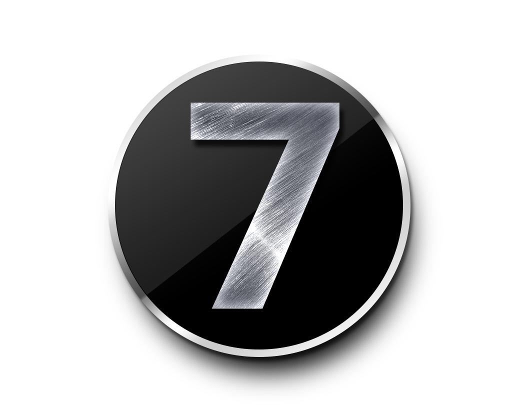 number 7 number digits circle silver icon transparent image #36598