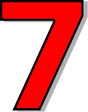 number 7 number red signs symbol alphabets numbers outlined #36586