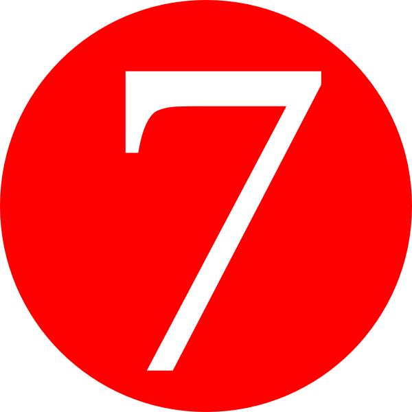 number 7 red rounded with number clip art #36569