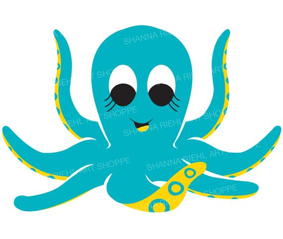 cute octopus nautical clipart under the sea octopus etsy #35893