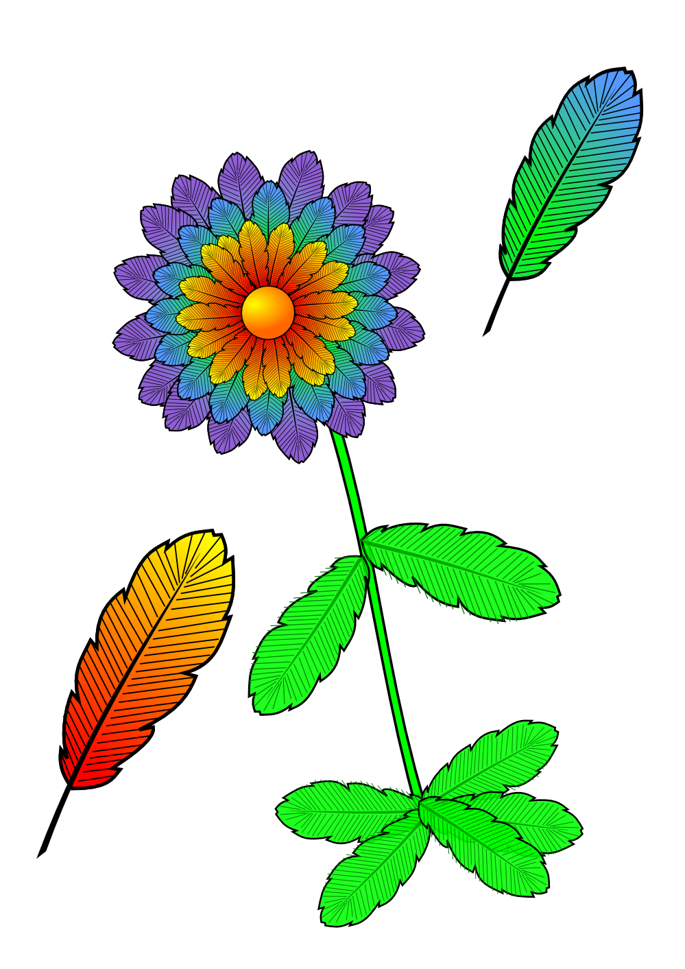 openclipart, clipartist clip art feather flower april #31474