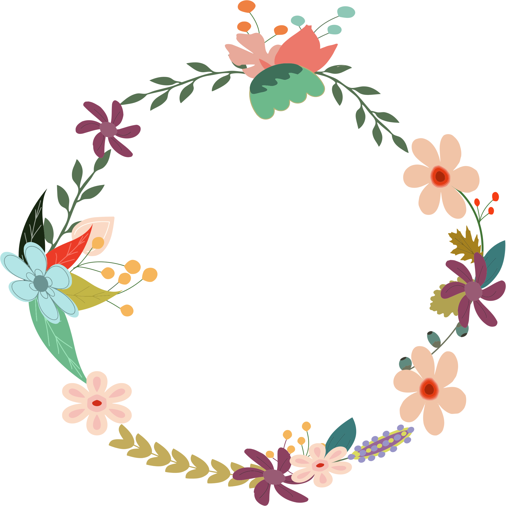openclipart, vintage floral wreath gdj from pdp with love #31483