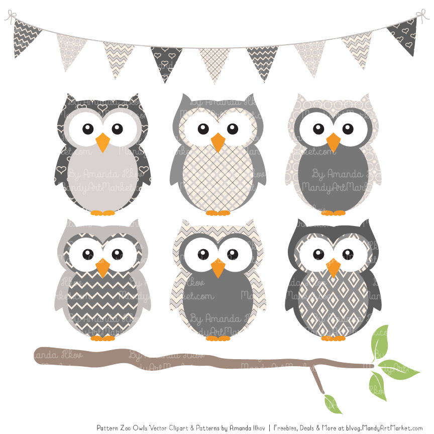 grey patterned owl clipart patterns #31653