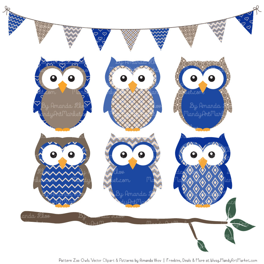 royal blue patterned owl clipart patterns #31652