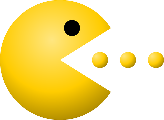 pacman pac man dots vector graphic pixabay #25744
