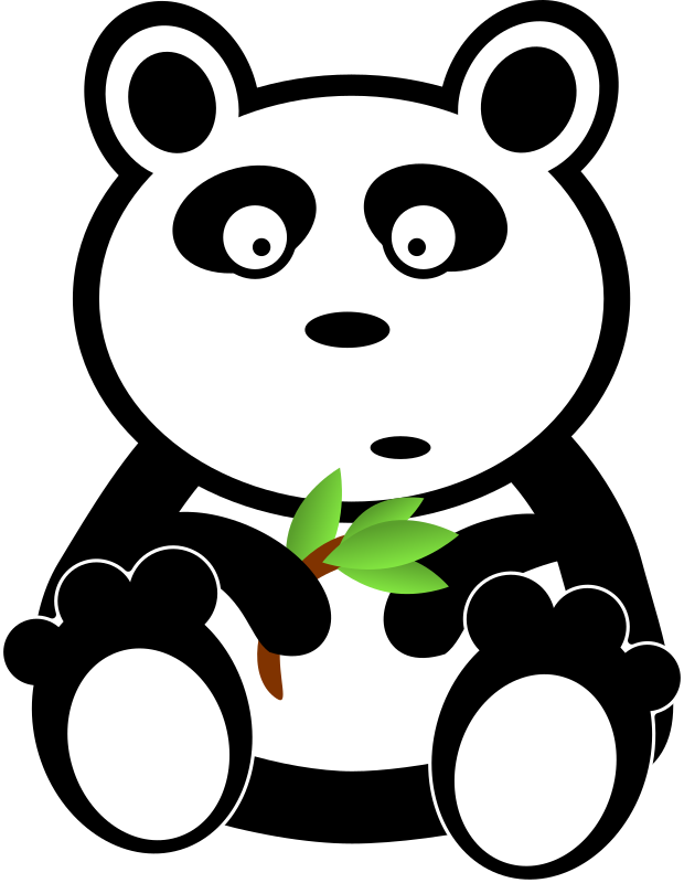 clipart panda with bamboo leaves #19877