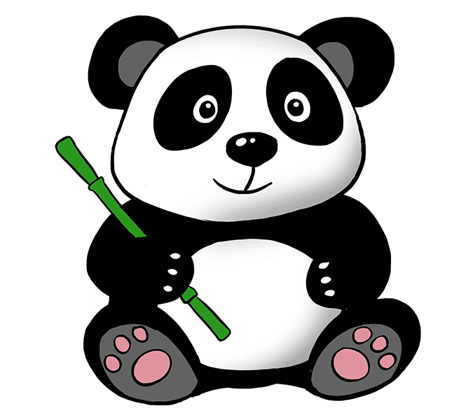 how draw cute panda few easy steps easy #19923