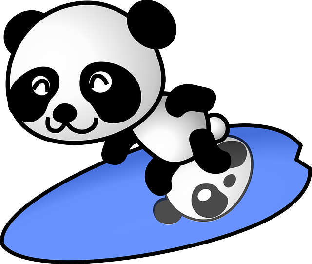 panda surfing surfer vector graphic pixabay #19889