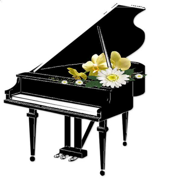 black piano with flowers transparent clipart gallery 24457